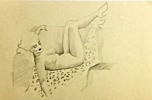 TED WITHERS ORIGINAL Vintage Pin-Up Drawing SLEEPY PINUP60s Marilyn MidCentury
