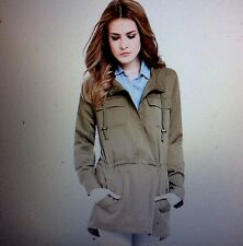 NWT M Eileen Fisher Olive Weather Resistant  Anorak Hooded Jacket Coat  $348+