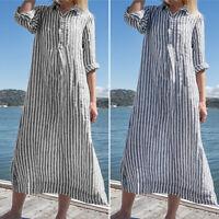 Autumn Womens Stripes Long Sleeve Shirt Dress Holiday Party Dresses Oversized