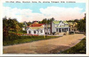 Postcard Post Office Street Scene Toboggan Slide Mountain Home Pennsylvania~3767