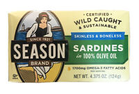 6 Cans (4.375oz each) Season Sardines in Olive Oil Wild Caught Skinless Boneless
