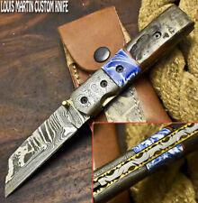 Louis Martin Custom Made Damascus Ram's Horn Hunting Folding Knife Liner Lock