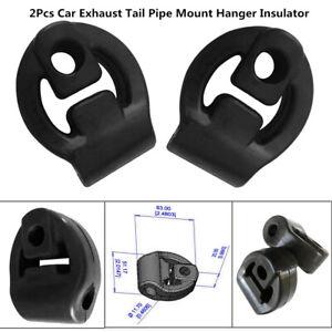 2 Pcs Car Rubber Exhaust Tail Pipe Mount Bracket Hanger Insulator Black Unique