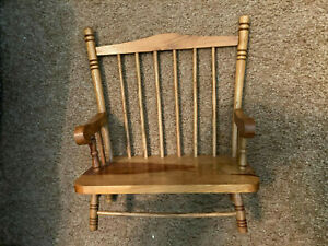 Wooden Doll Bear Spindle Seat Bench