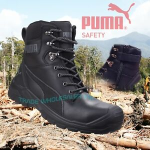 PUMA Tactical Safety Toe Police Combat Leather Side Zip Boot Black Conquest SIA