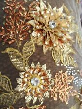 Embroidered 3D Applique Fabric Gold Sequin Rhinestone Floral Design (DH78)