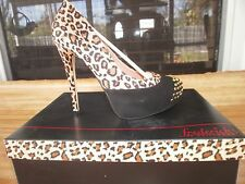 FREDERICKS OF HOLLYWOOD Platform Pump Leopard Black Studs