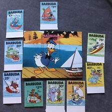 Barbuda Disney Donald & Crew Stamps Set 1980 Mnh