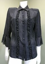 JORDAN Women's Black & White Stripe Polka Dot Sheer Button Down Shirt~ Size S