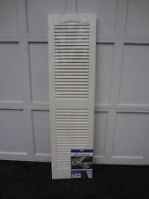 1 Pr Set Builders Edge House Exterior White Vinyl Louvered Window Shutters 15X55