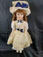 Red hair curls antique style clothing blue eyes PORCELAIN COLLECTIBLE DOLL 18""