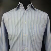 HUGO BOSS Mens Shirt LARGE Long Sleeve Blue Regular Fit Striped Cotton