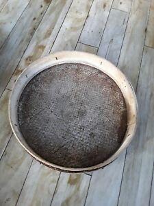 Antique vintage large garden sieve riddle bentwood + metal 48 cm across