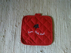 Cairn Terrier Embroidered Red Potholder Run Toto