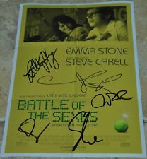 """Battle Of The Sexes Signed 12"""" x 8"""" Colour Photo Emma Stone , Billy Jean King +3"""