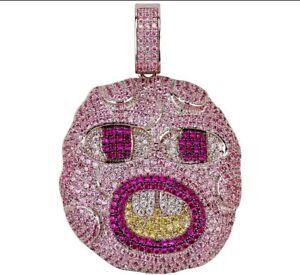 Multi Pink Color Sapphire With Yellow & White CZ CHERRY BOMB Hip-Hop Men Pendant