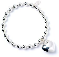 925 Sterling Silver Ball Bead Noodle Roodle Bracelet with Puffy Heart Charm