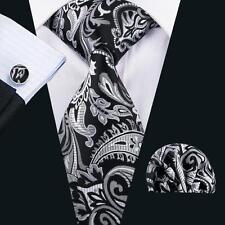 Classic Gray Black Paisley Tie Mens Necktie Hanky Cufflinks Set Gravatas LS-1582