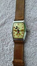VINTAGE MICKEY MOUSE WATCH - US Time 12742  W/ Leather band Walt Disney Product
