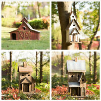 Glitzhome Vintage Rustic Wood Natural Birdhouses Large Size Decorative Bird Nest