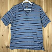 Patagonia Mens Blue/Brown Striped Size L Short Sleeve Organic Cotton Polo Shirt