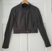 BCBG Max Azria Ponte Cafe Gray Moto Jacket Stretch Womens Small Fitted Cropped