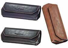 Large Glasses Case Leather With Decorative Seams, Magnetic Closure - 3 Colours