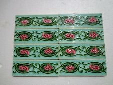 """Old Vintage Collectible Rare Design Ceramic Tiles Made In Japan 1940s 6""""x2"""" Inch"""