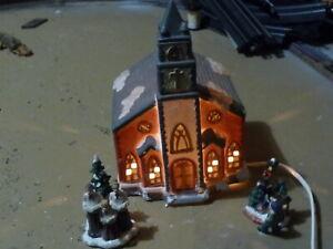 Lighted Christmas Village Porcelain Church