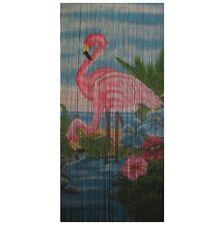 Bamboo Beaded Door Curtain - Flamingo Pair (also Room Divider Wall Art)