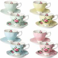 BTaT- Floral Tea Cups and Saucers, Set of 8 (8 oz) Multi-color with Gold Trim