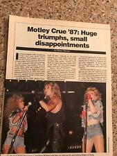 1987 VINTAGE 5PG PRINT ARTICLE ON MOTLEY CRUE HUGE TRIUMPHS