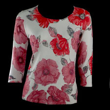 Red/White Beaded Floral Long Sleeve Top Shirt Women's Casual Size M