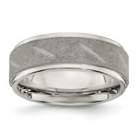 Stainless Steel Polished and Satin Beveled Edge 8mm Band