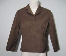 ELEVENSES anthropologie brown blazer jacket Size 6 stretch fitted crop sleeve