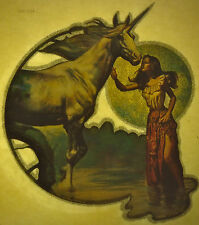 boris vallego lady & unicorn scifi fantasy 80s vintage retro tshirt print, NOS