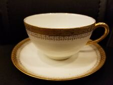 LS & S LIMOGES COFFEE CUP SAUCER WITH GOLD VINTAGE