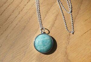 """Sterling Silver & Sea Blue Amazonite Round Gemstone Pendant, 18"""" Silver Chain"""