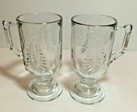 Indiana Glass VTG Christmas Tree Irish Footed Pedestal Coffee Mugs Cups S/2