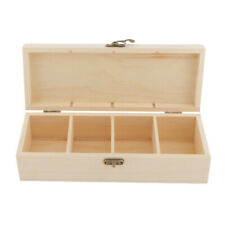 Wood Jewelry Box Tea Box Case Necklace Ring Storage Box w/ Clasp 4 Slots