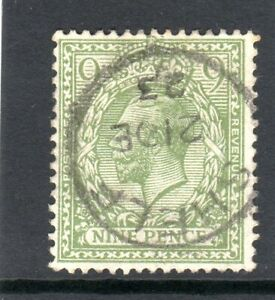 GB KGV 1912-24 SG;393b 9d Pale Olive Green SUPERB USED FULL SHELF CDS 21.DE.23