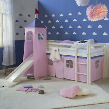 Hochbett Spielbett Kinderbett mit Rutsche Turm Vorhang pink 90x200 Jugendbett