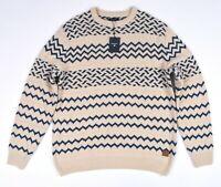 GANT S Grob Fairisle Zig Zag Herren Rundhals Pullover Größe L, XL, 2XL, 3XL
