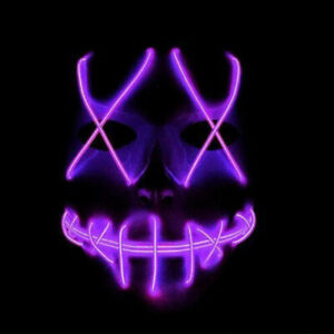 Halloween Cosplay Face Cover Mask LED Party Smiling Stitched Wire Purge Light Up