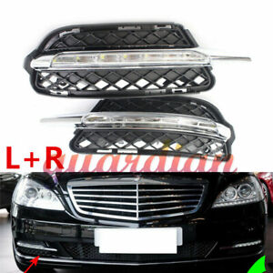 For Mercedes Benz S-Class 2010-2012 Pair White DRL Daytime Running Light Fog LED