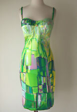 ROBERTO CAVALLI Silk Print Stretch Bustier Dress 42 6 8