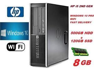 DELL HP PC Core i5 PC COMPUTER DESKTOP 8GBRAM 120GB SSD 500GB HDD WIN 10 PRO