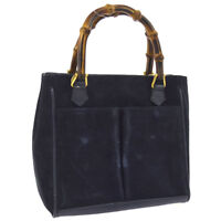 Auth GUCCI Bamboo 2way Hand Bag Navy Suede Leather Italy Vintage BT16237