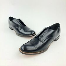 VTG Stacy Adams Madison Captoe Black Leather Dress Professional Oxford Shoes 13