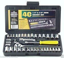 New Standard SAE & Metric 40 Piece Socket Set 1/4'' & 3/8